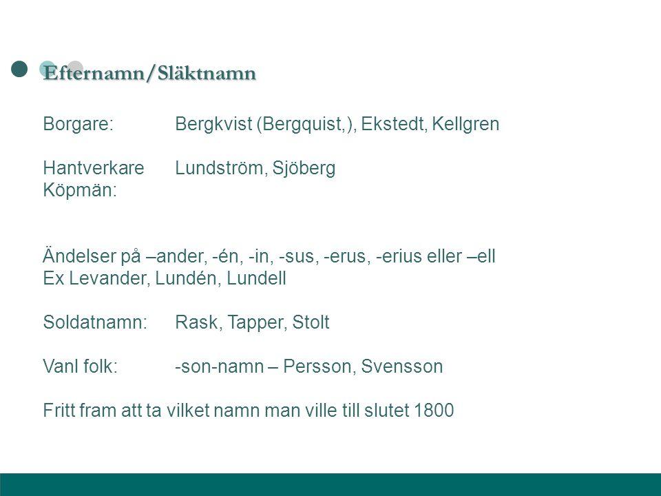 Efternamn/Släktnamn Borgare:Bergkvist (Bergquist,), Ekstedt, Kellgren HantverkareLundström, Sjöberg Köpmän: Ändelser på –ander, -én, -in, -sus, -erus,