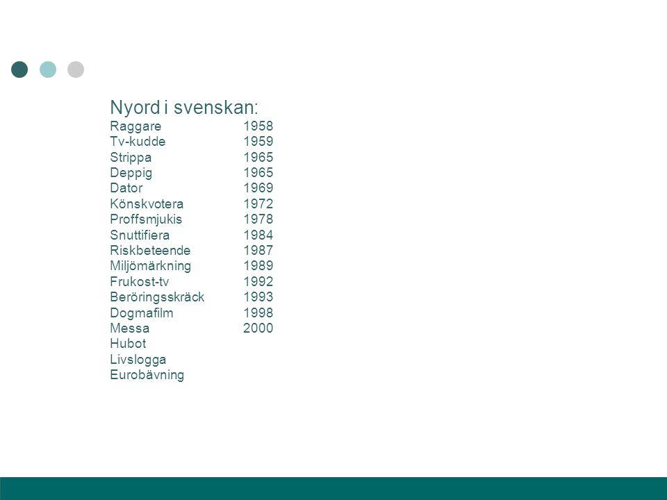 Nyord i svenskan: Raggare1958 Tv-kudde1959 Strippa1965 Deppig1965 Dator1969 Könskvotera1972 Proffsmjukis1978 Snuttifiera1984 Riskbeteende1987 Miljömär