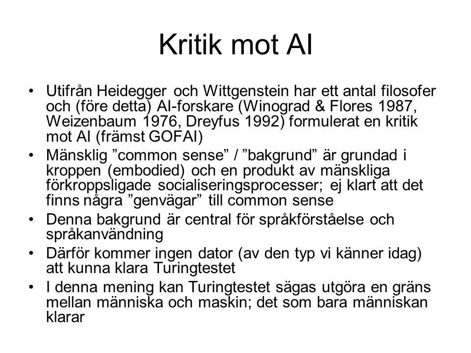 Kritik mot AI Utifrån Heidegger och Wittgenstein har ett antal filosofer och (före detta) AI-forskare (Winograd & Flores 1987, Weizenbaum 1976, Dreyfu