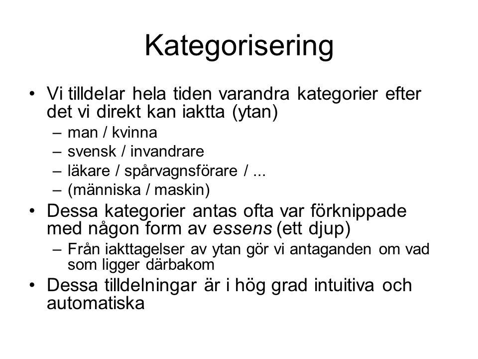 Kategorisering Vi tilldelar hela tiden varandra kategorier efter det vi direkt kan iaktta (ytan) –man / kvinna –svensk / invandrare –läkare / spårvagn
