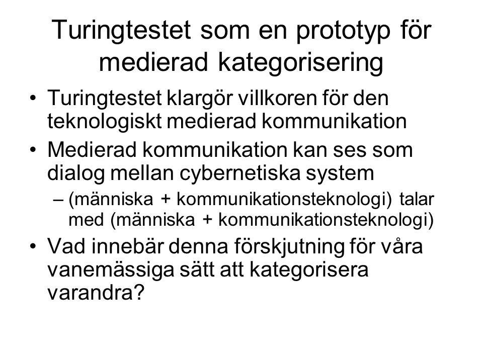 Turingtestet som en prototyp för medierad kategorisering Turingtestet klargör villkoren för den teknologiskt medierad kommunikation Medierad kommunika