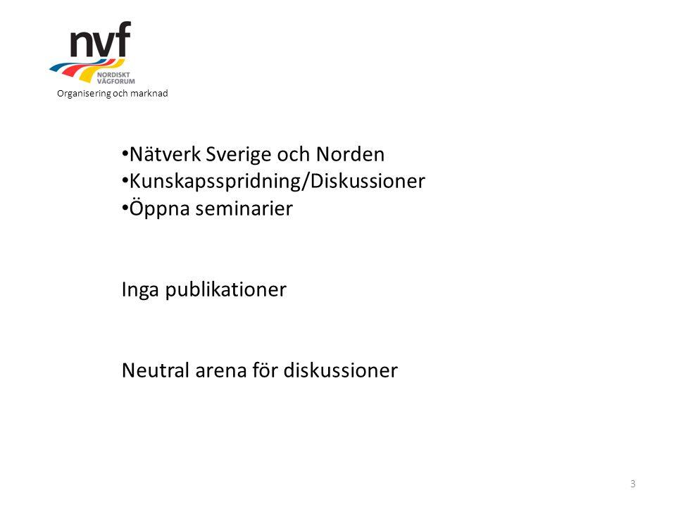 Organisering och marknad 3 Nätverk Sverige och Norden Kunskapsspridning/Diskussioner Öppna seminarier Inga publikationer Neutral arena för diskussione