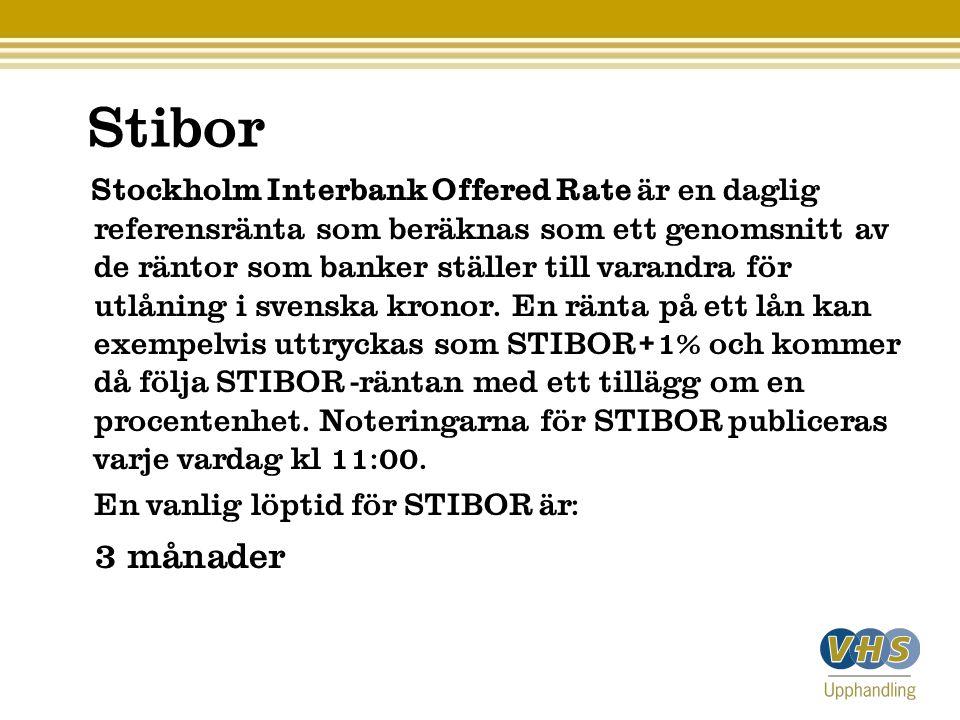 Stibor Stockholm Interbank Offered Rate är en daglig referensränta som beräknas som ett genomsnitt av de räntor som banker ställer till varandra för utlåning i svenska kronor.