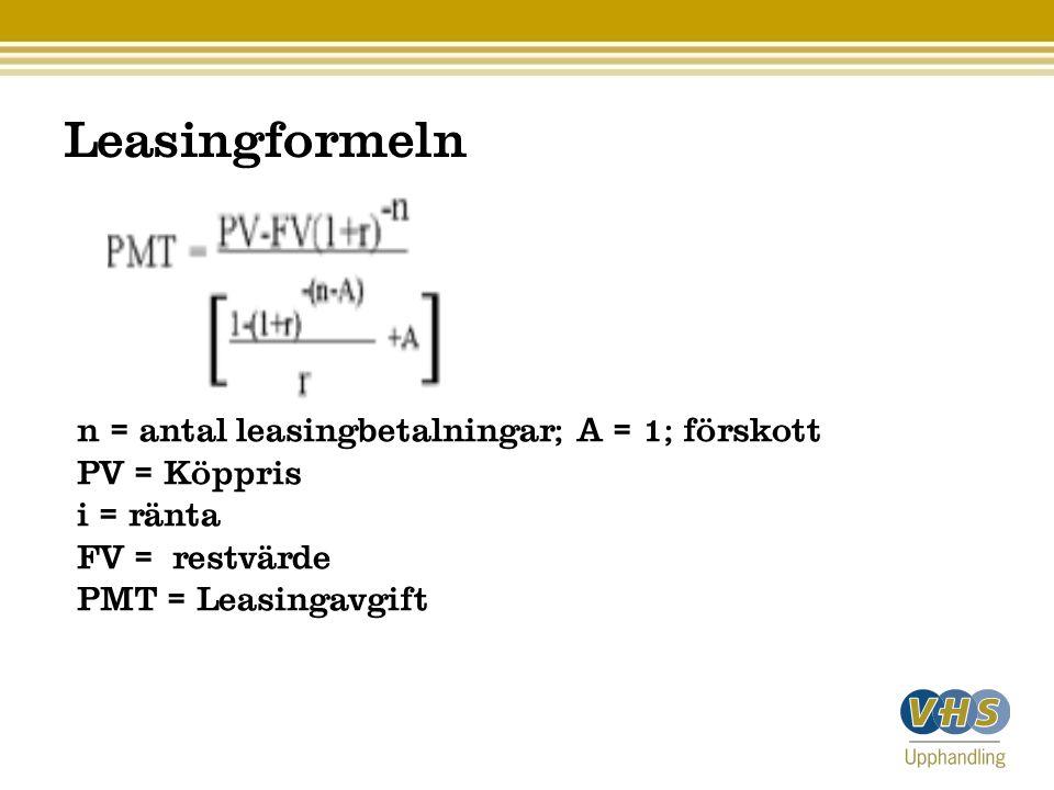Leasingformeln n = antal leasingbetalningar; A = 1; förskott PV = Köppris i = ränta FV = restvärde PMT = Leasingavgift
