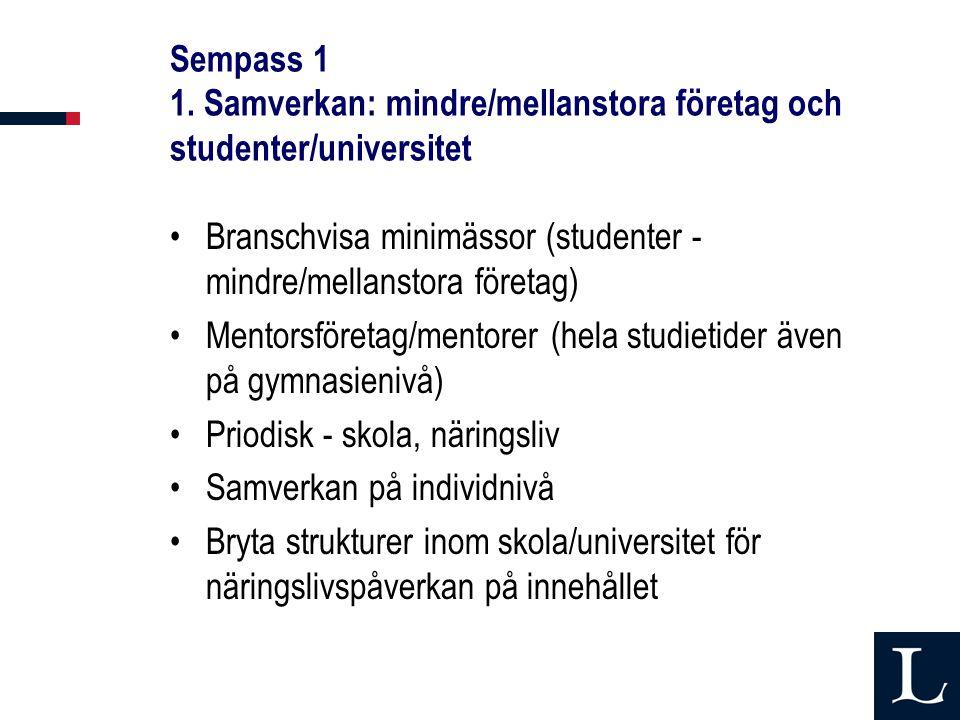 Sempass 1 1. Samverkan: mindre/mellanstora företag och studenter/universitet Branschvisa minimässor (studenter - mindre/mellanstora företag) Mentorsfö