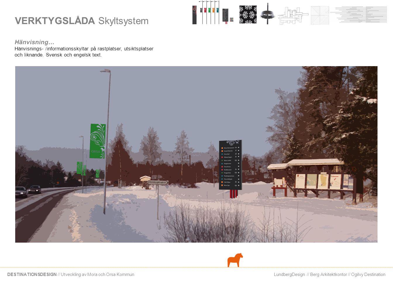LundbergDesign // Berg Arkitektkontor // Ogilvy DestinationDESTINATIONSDESIGN // Utveckling av Mora och Orsa Kommun VERKTYGSLÅDA Arkitektoniska element Hänvisning Hänvisningsskyltar i kommunerna i Siljan.