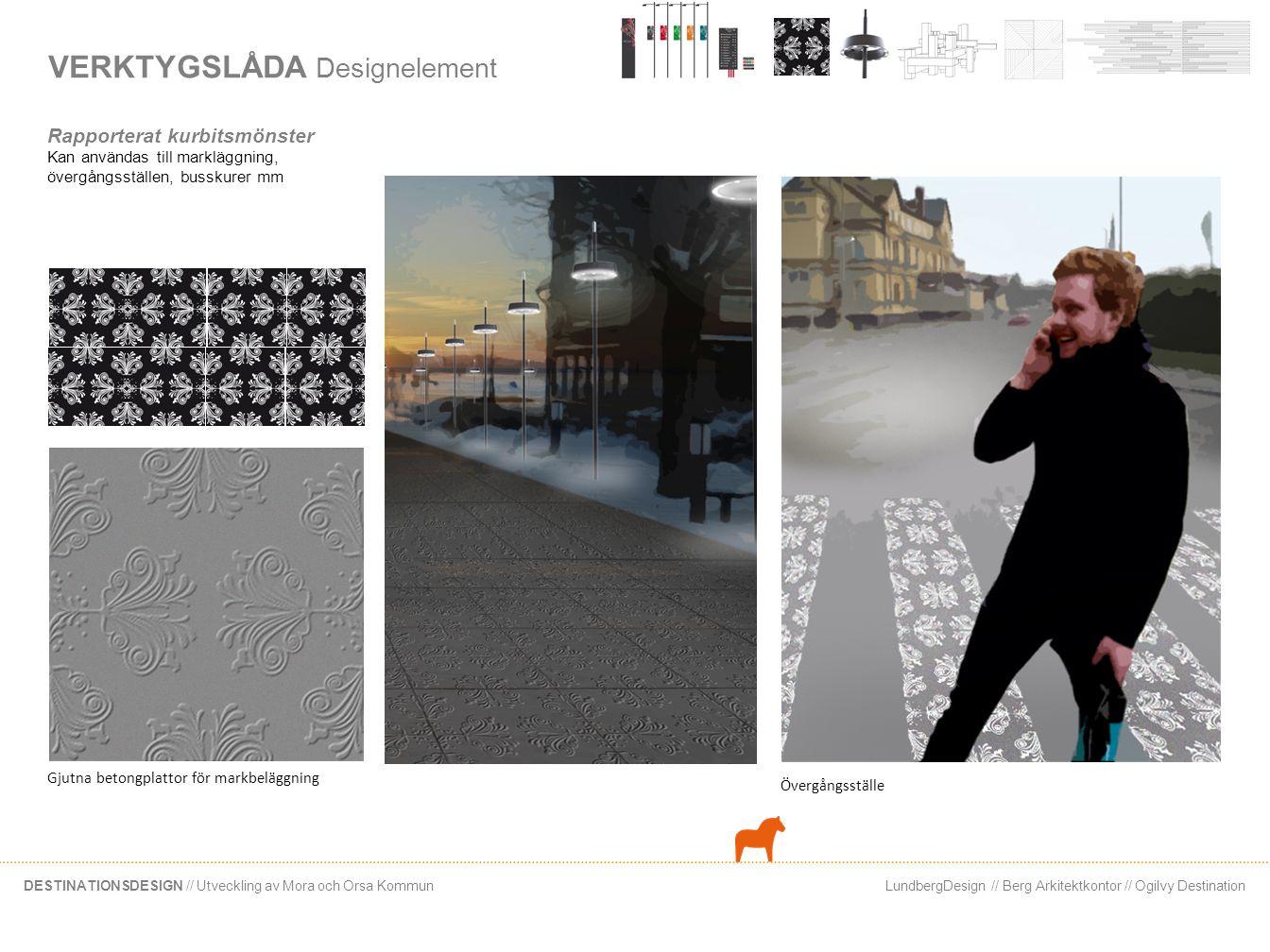 LundbergDesign // Berg Arkitektkontor // Ogilvy DestinationDESTINATIONSDESIGN // Utveckling av Mora och Orsa Kommun VERKTYGSLÅDA Belysningsarmatur Inspirerat av midsommar Belysningsarmaturen som kan vara ett upprepande element i Siljan, hämtar inspiration från Siljans alla midsommarstänger.