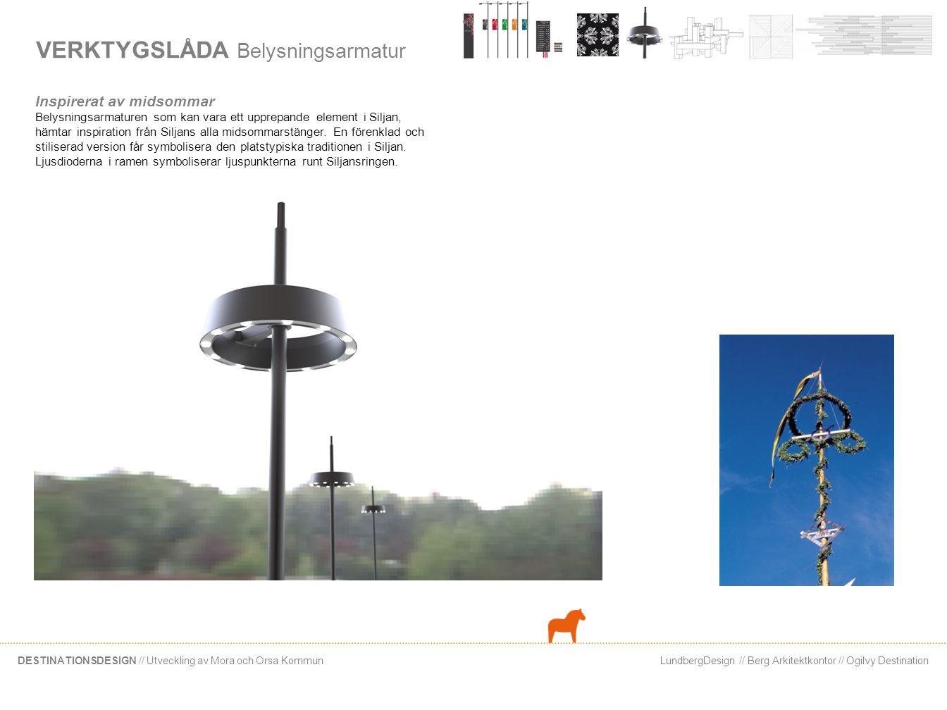 LundbergDesign // Berg Arkitektkontor // Ogilvy DestinationDESTINATIONSDESIGN // Utveckling av Mora och Orsa Kommun VERKTYGSLÅDA Belysningsarmatur Ins