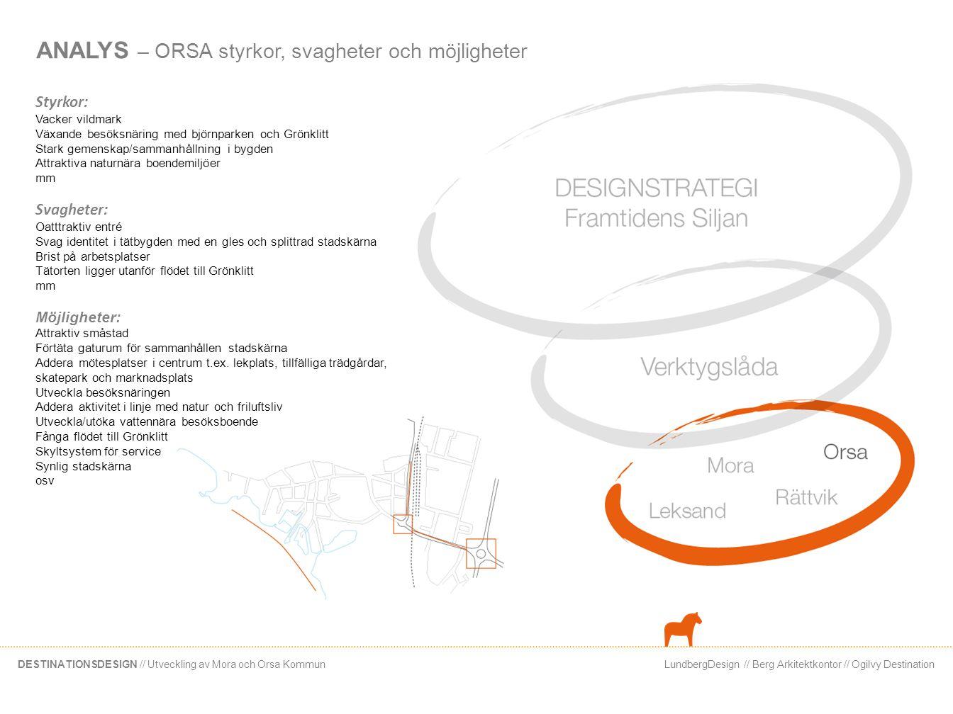 LundbergDesign // Berg Arkitektkontor // Ogilvy DestinationDESTINATIONSDESIGN // Utveckling av Mora och Orsa Kommun ANALYS – ORSA styrkor, svagheter o