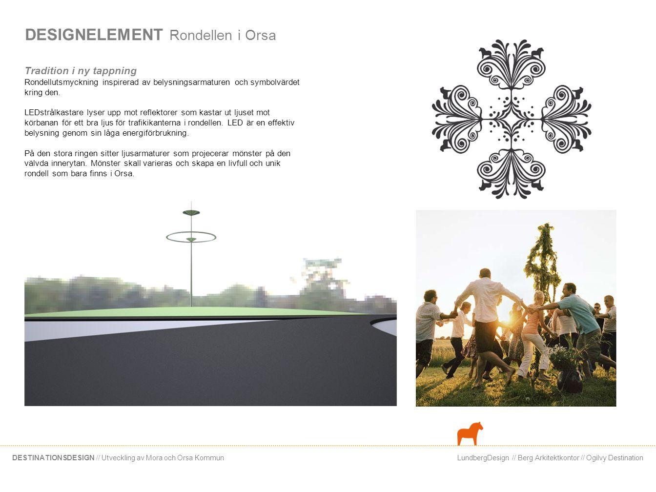 LundbergDesign // Berg Arkitektkontor // Ogilvy DestinationDESTINATIONSDESIGN // Utveckling av Mora och Orsa Kommun DESIGNELEMENT Rondellen i Orsa Tra
