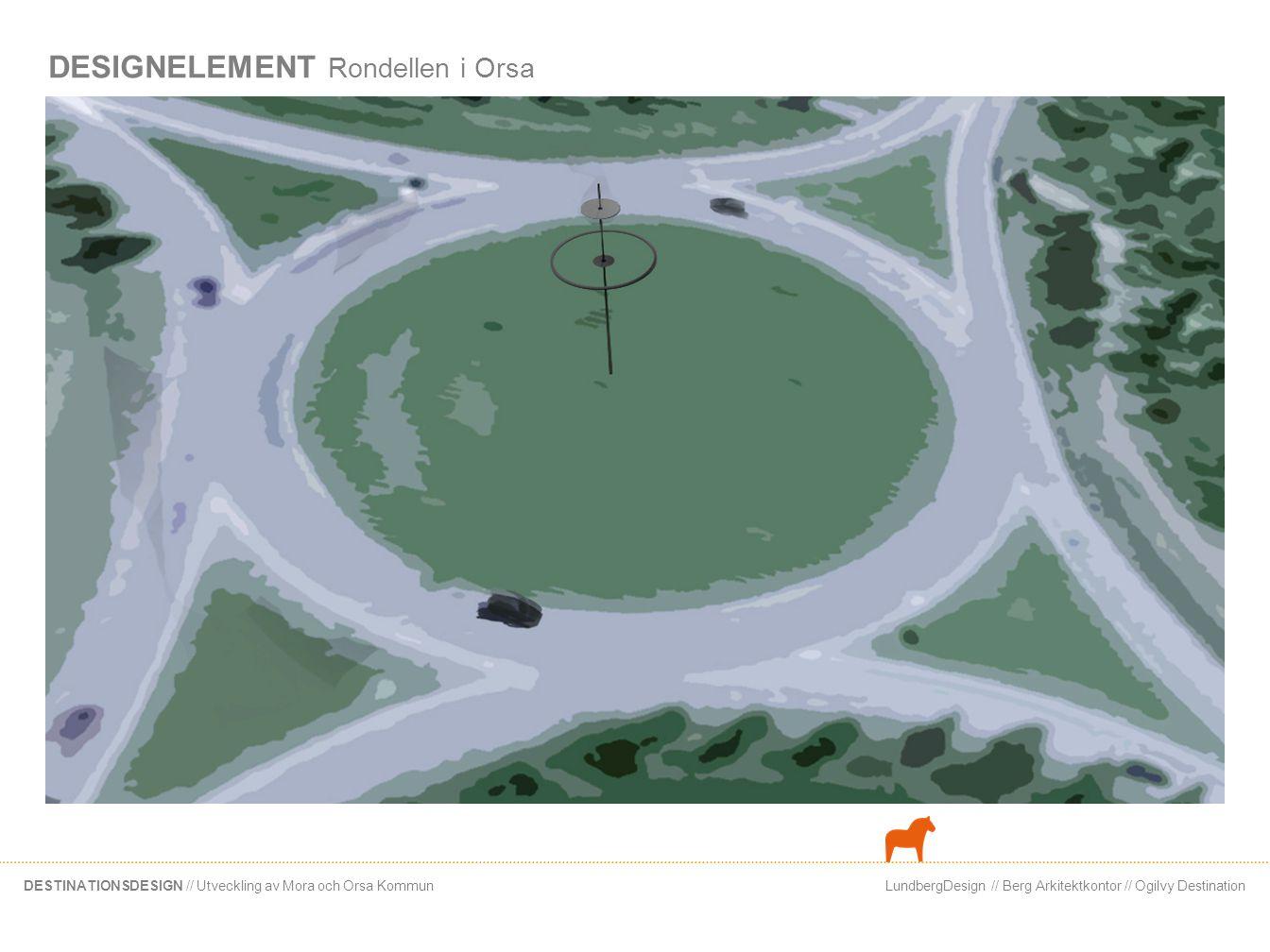 LundbergDesign // Berg Arkitektkontor // Ogilvy DestinationDESTINATIONSDESIGN // Utveckling av Mora och Orsa Kommun DESIGNELEMENT Rondellen i Orsa