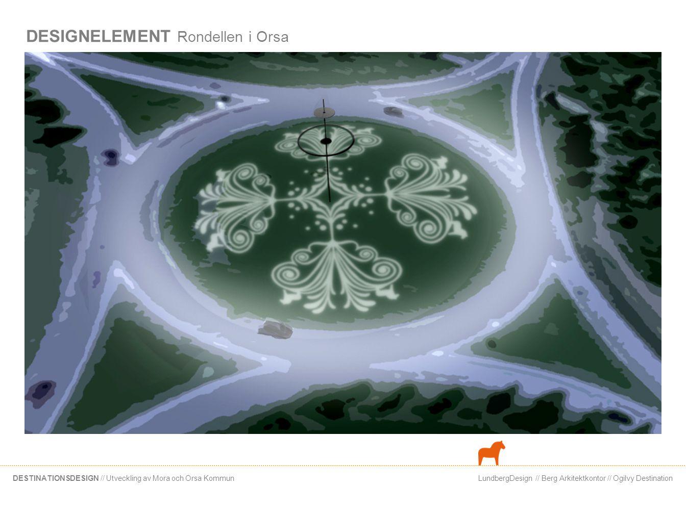 LundbergDesign // Berg Arkitektkontor // Ogilvy DestinationDESTINATIONSDESIGN // Utveckling av Mora och Orsa Kommun DESIGNELEMENT Järnvägsgatan i Orsa Raster förtätar gatubilden Järnvägsgatan har förlorat sin karraktär av stadsgata.