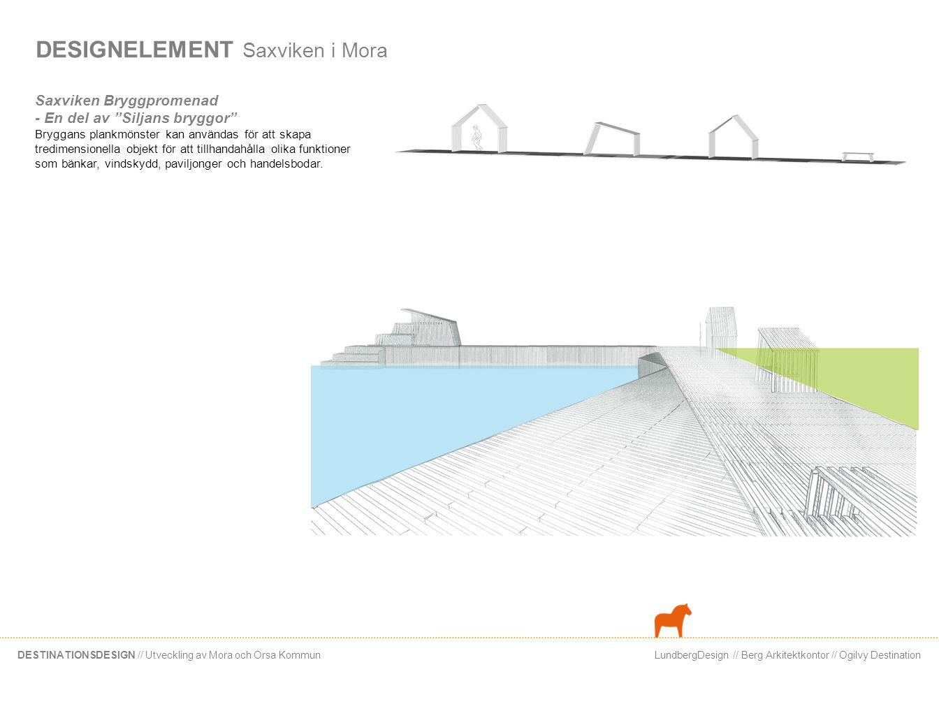 LundbergDesign // Berg Arkitektkontor // Ogilvy DestinationDESTINATIONSDESIGN // Utveckling av Mora och Orsa Kommun DESIGNELEMENT Saxviken i Mora Centrums förlängning - Pir För att stärka den visuella kopplingen mellan Moras stadskärna och Siljans vatten bör existerande siktlinjer öppnas upp och förlängas.