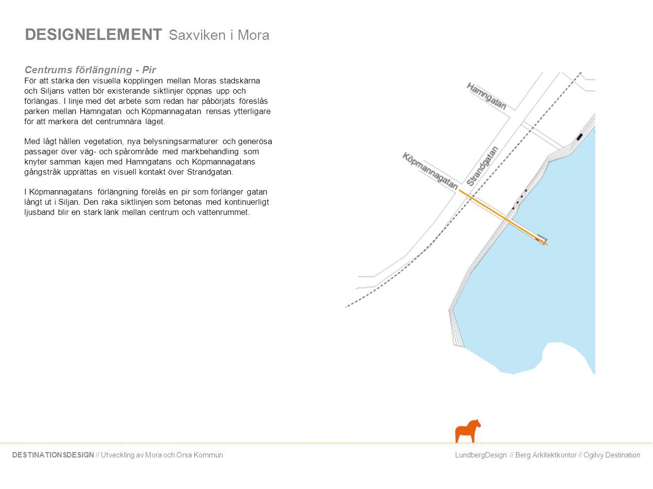 LundbergDesign // Berg Arkitektkontor // Ogilvy DestinationDESTINATIONSDESIGN // Utveckling av Mora och Orsa Kommun DESIGNELEMENT Saxviken i Mora Cent