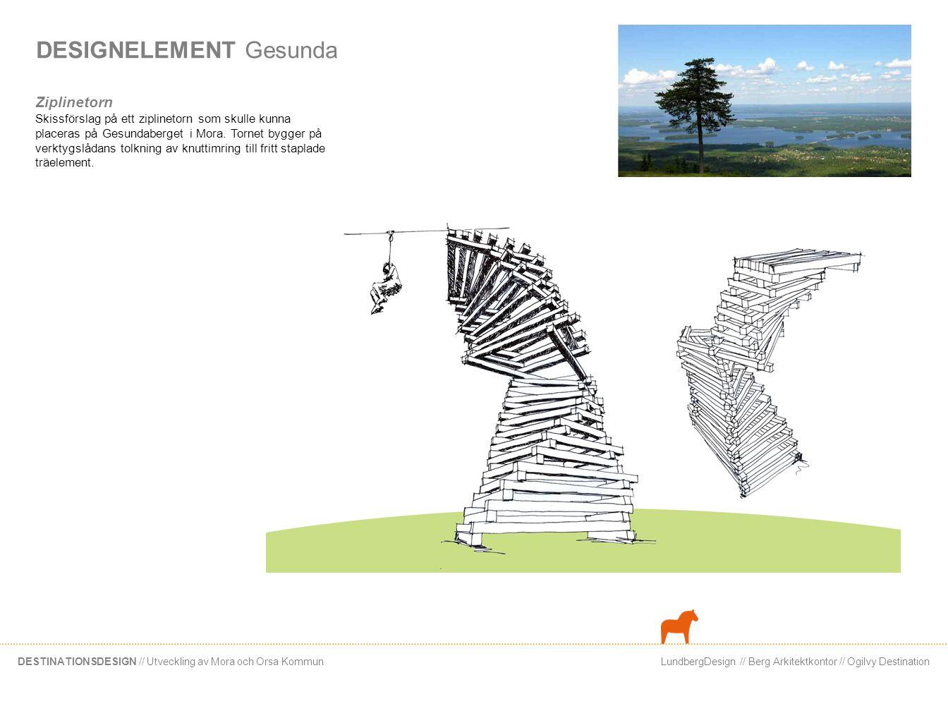 LundbergDesign // Berg Arkitektkontor // Ogilvy DestinationDESTINATIONSDESIGN // Utveckling av Mora och Orsa Kommun DESIGNELEMENT Gesunda Ziplinetorn