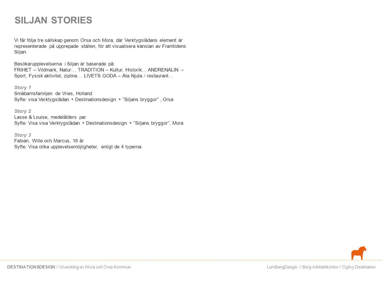 LundbergDesign // Berg Arkitektkontor // Ogilvy DestinationDESTINATIONSDESIGN // Utveckling av Mora och Orsa Kommun SILJAN STORIES Vi får följa tre sä