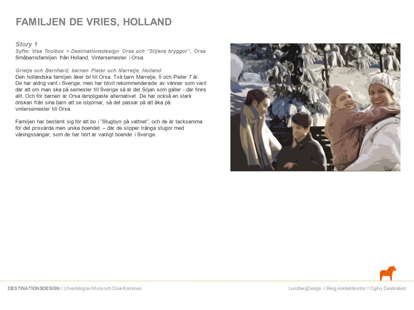 LundbergDesign // Berg Arkitektkontor // Ogilvy DestinationDESTINATIONSDESIGN // Utveckling av Mora och Orsa Kommun FAMILJEN DE VRIES, HOLLAND Story 1