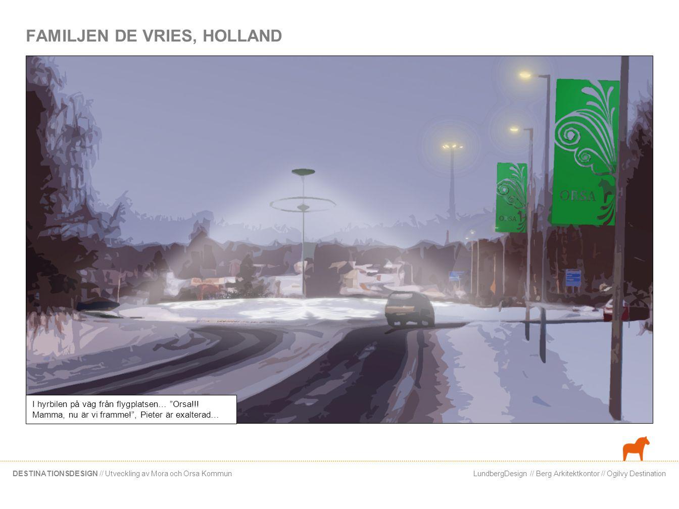 LundbergDesign // Berg Arkitektkontor // Ogilvy DestinationDESTINATIONSDESIGN // Utveckling av Mora och Orsa Kommun FAMILJEN DE VRIES, HOLLAND I hyrbi