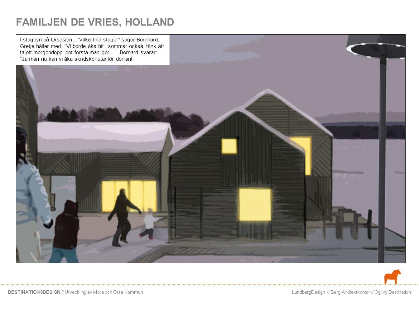 LundbergDesign // Berg Arkitektkontor // Ogilvy DestinationDESTINATIONSDESIGN // Utveckling av Mora och Orsa Kommun FAMILJEN DE VRIES, HOLLAND I stugb