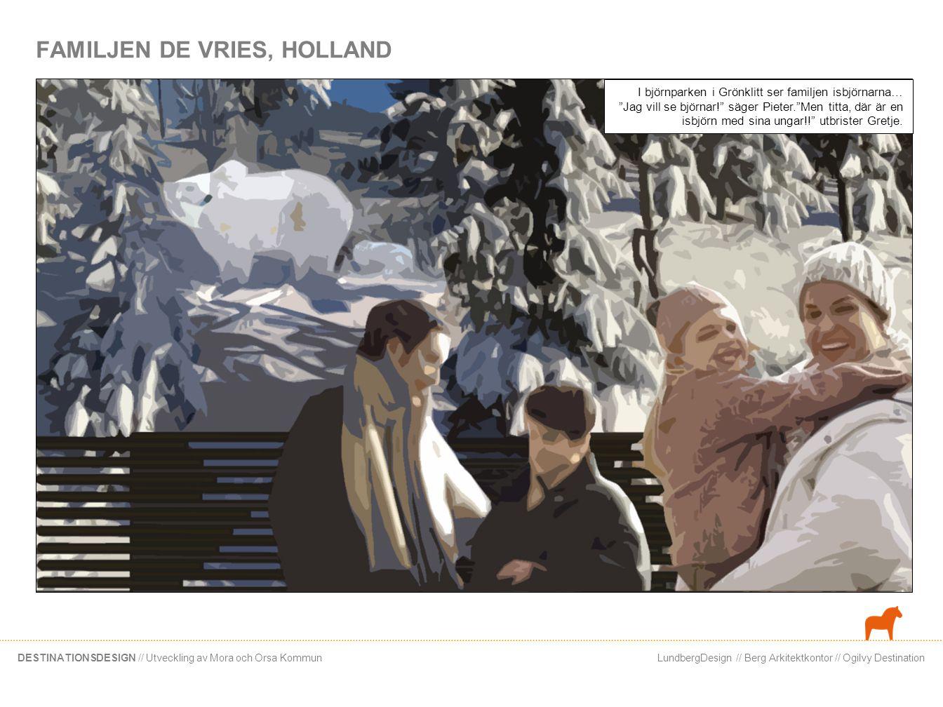 LundbergDesign // Berg Arkitektkontor // Ogilvy DestinationDESTINATIONSDESIGN // Utveckling av Mora och Orsa Kommun FAMILJEN DE VRIES, HOLLAND I björn