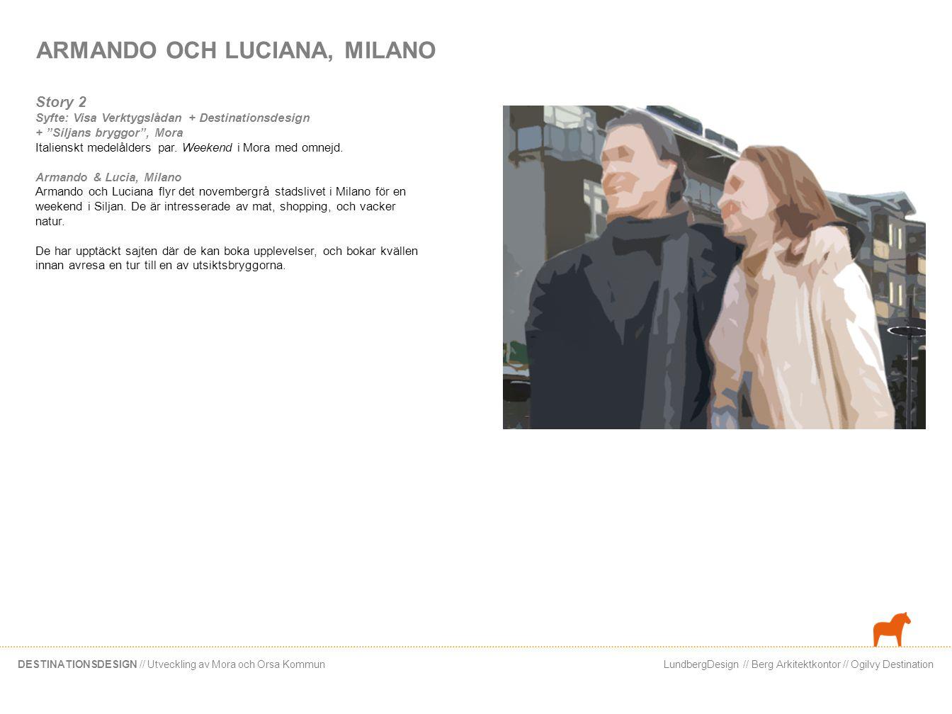 LundbergDesign // Berg Arkitektkontor // Ogilvy DestinationDESTINATIONSDESIGN // Utveckling av Mora och Orsa Kommun Armando och Luciana anländer tidigt med taxi från flygplatsen… Que bello! , säger Armando.
