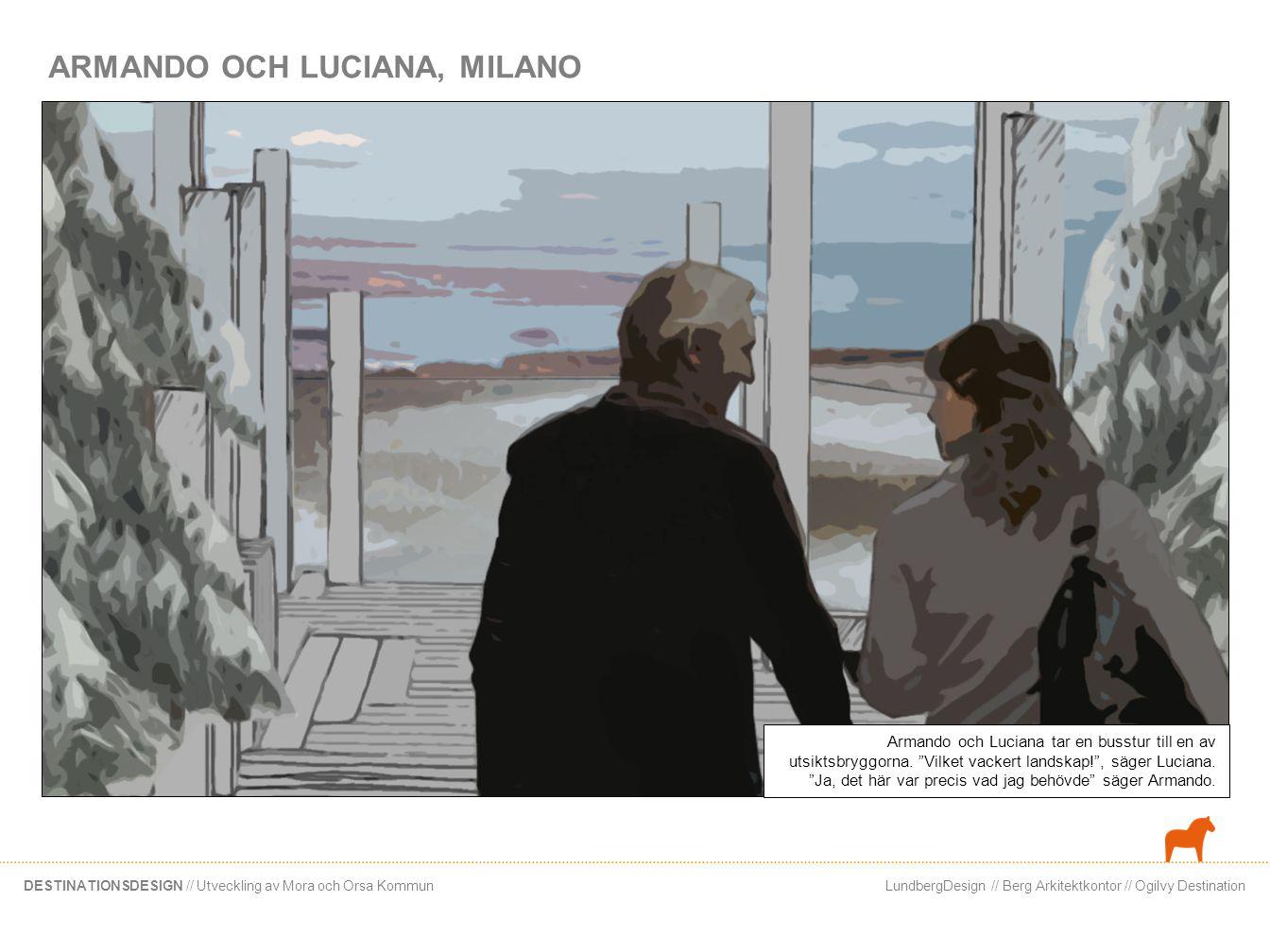 LundbergDesign // Berg Arkitektkontor // Ogilvy DestinationDESTINATIONSDESIGN // Utveckling av Mora och Orsa Kommun Paret flanerar i centrum… Ska vi shoppa lite? , säger Armando.