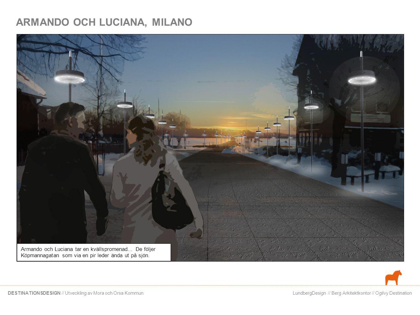 LundbergDesign // Berg Arkitektkontor // Ogilvy DestinationDESTINATIONSDESIGN // Utveckling av Mora och Orsa Kommun Paret fortsätter sin promenad längs bryggpromenaden… De blickar ut mot restaurangen ute på piren, Där kan vi äta imorgon! säger Armando.
