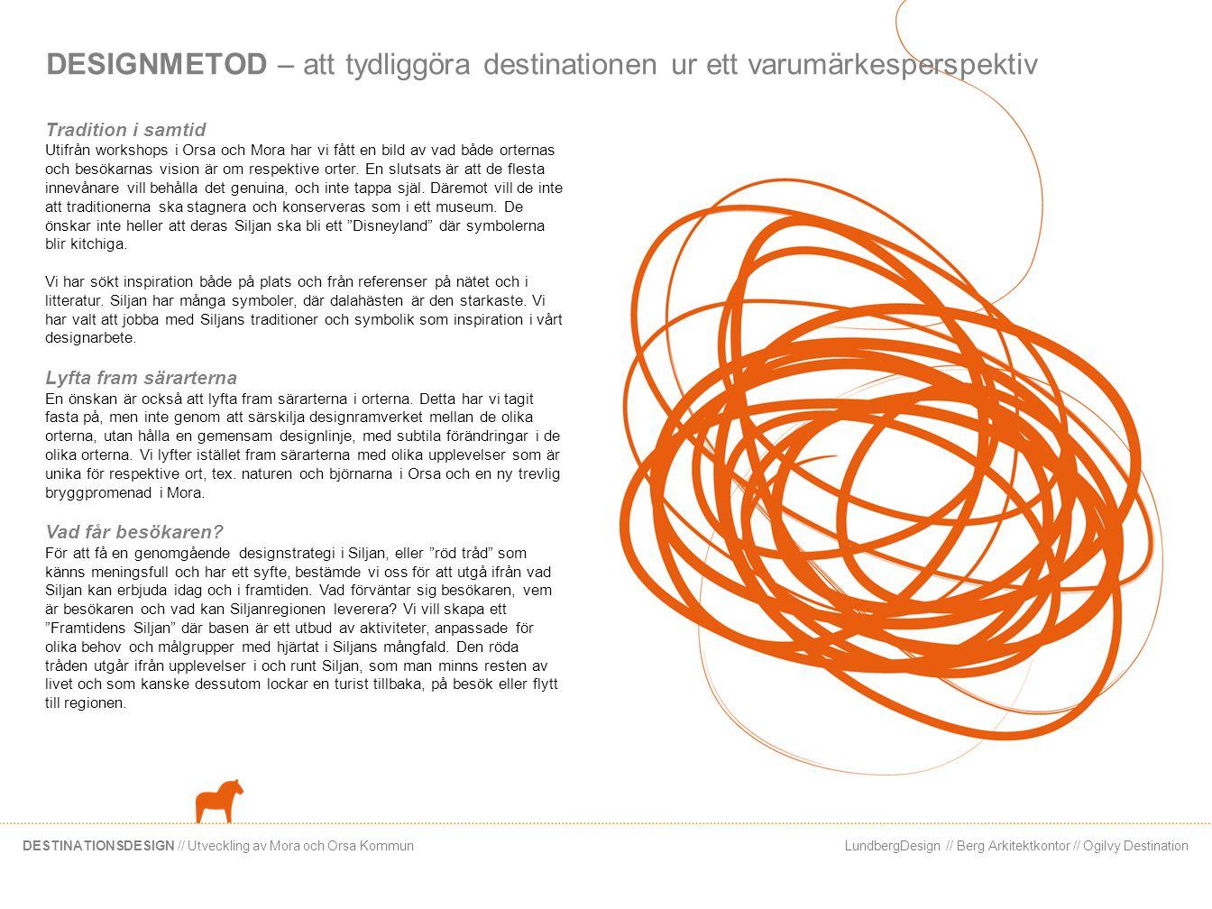 LundbergDesign // Berg Arkitektkontor // Ogilvy DestinationDESTINATIONSDESIGN // Utveckling av Mora och Orsa Kommun DESIGNMETOD – att tydliggöra desti