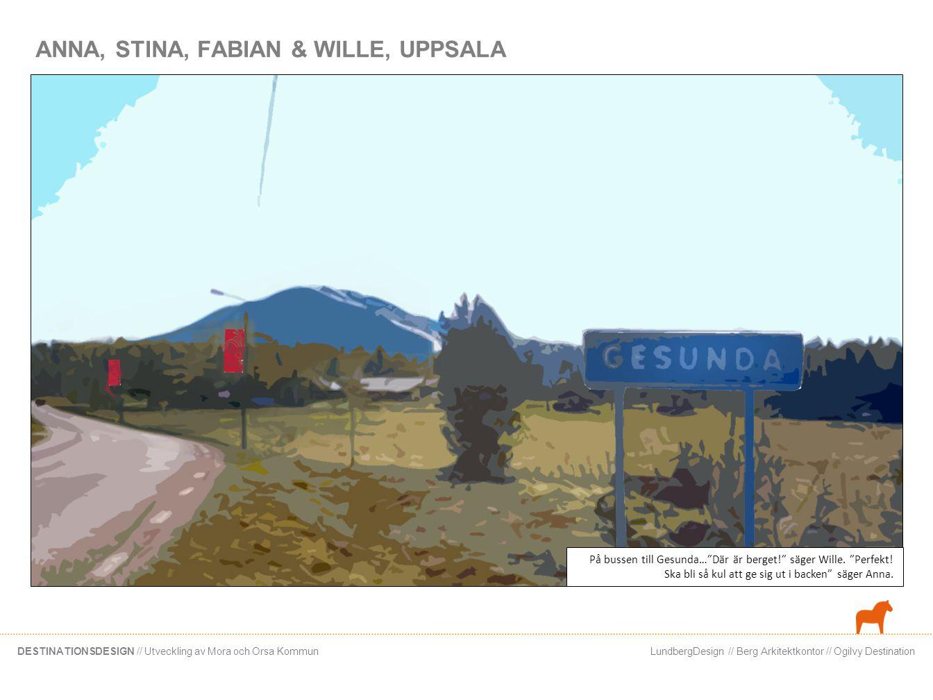 LundbergDesign // Berg Arkitektkontor // Ogilvy DestinationDESTINATIONSDESIGN // Utveckling av Mora och Orsa Kommun ANNA, STINA, FABIAN & WILLE, UPPSA