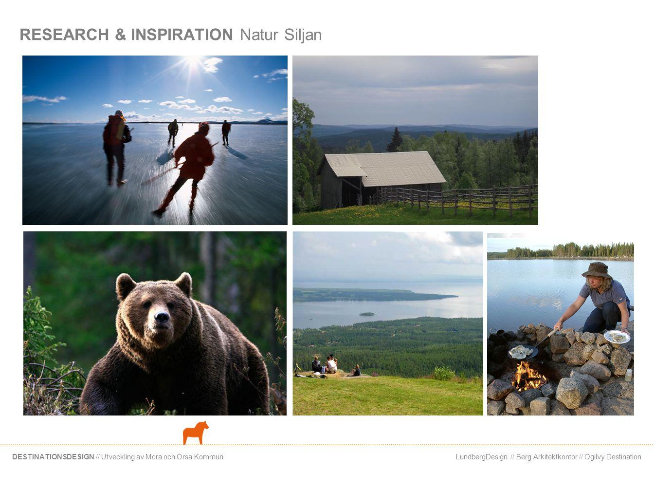 LundbergDesign // Berg Arkitektkontor // Ogilvy DestinationDESTINATIONSDESIGN // Utveckling av Mora och Orsa Kommun RESEARCH & INSPIRATION Natur Silja