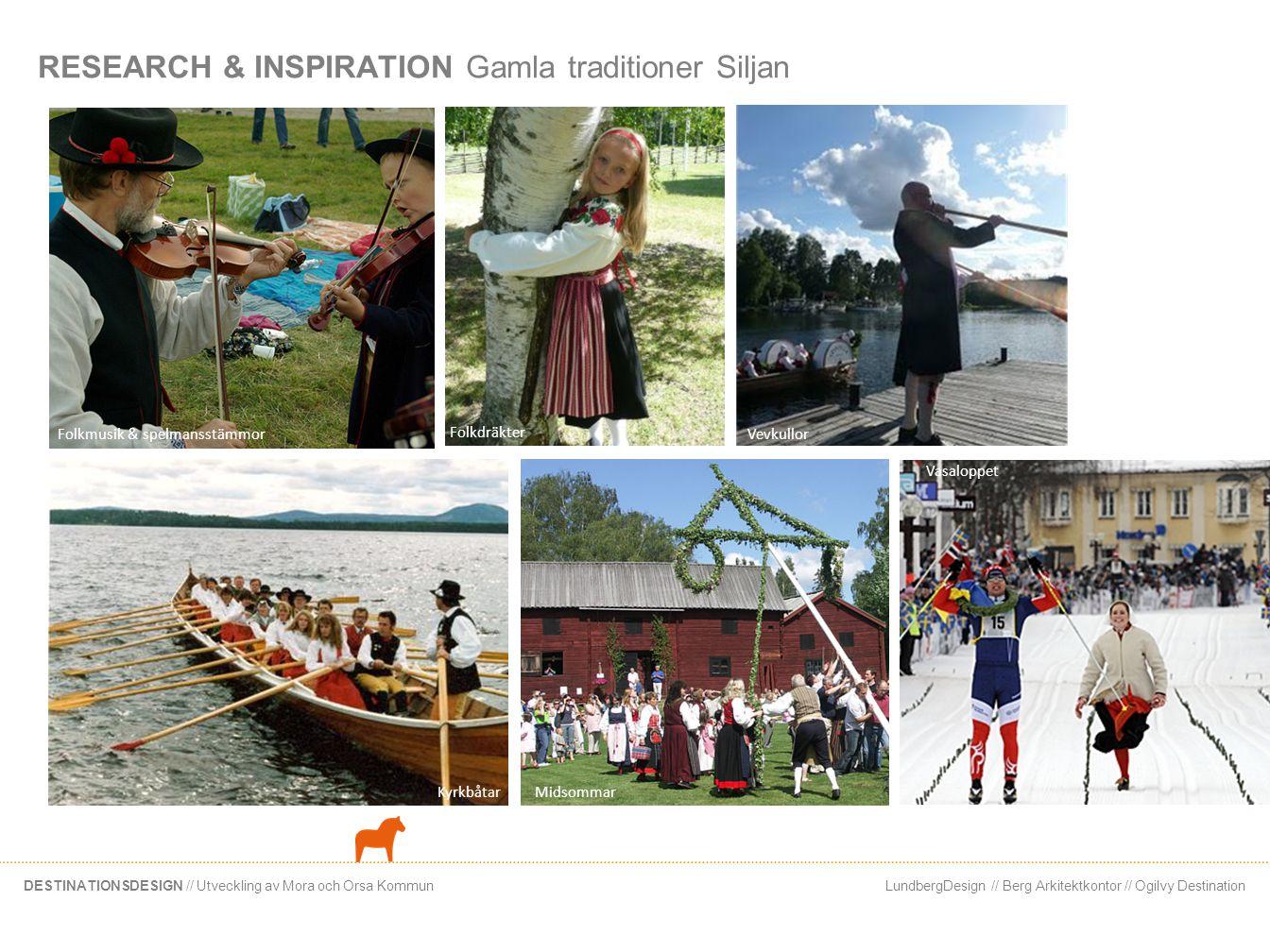 LundbergDesign // Berg Arkitektkontor // Ogilvy DestinationDESTINATIONSDESIGN // Utveckling av Mora och Orsa Kommun RESEARCH & INSPIRATION Gamla tradi