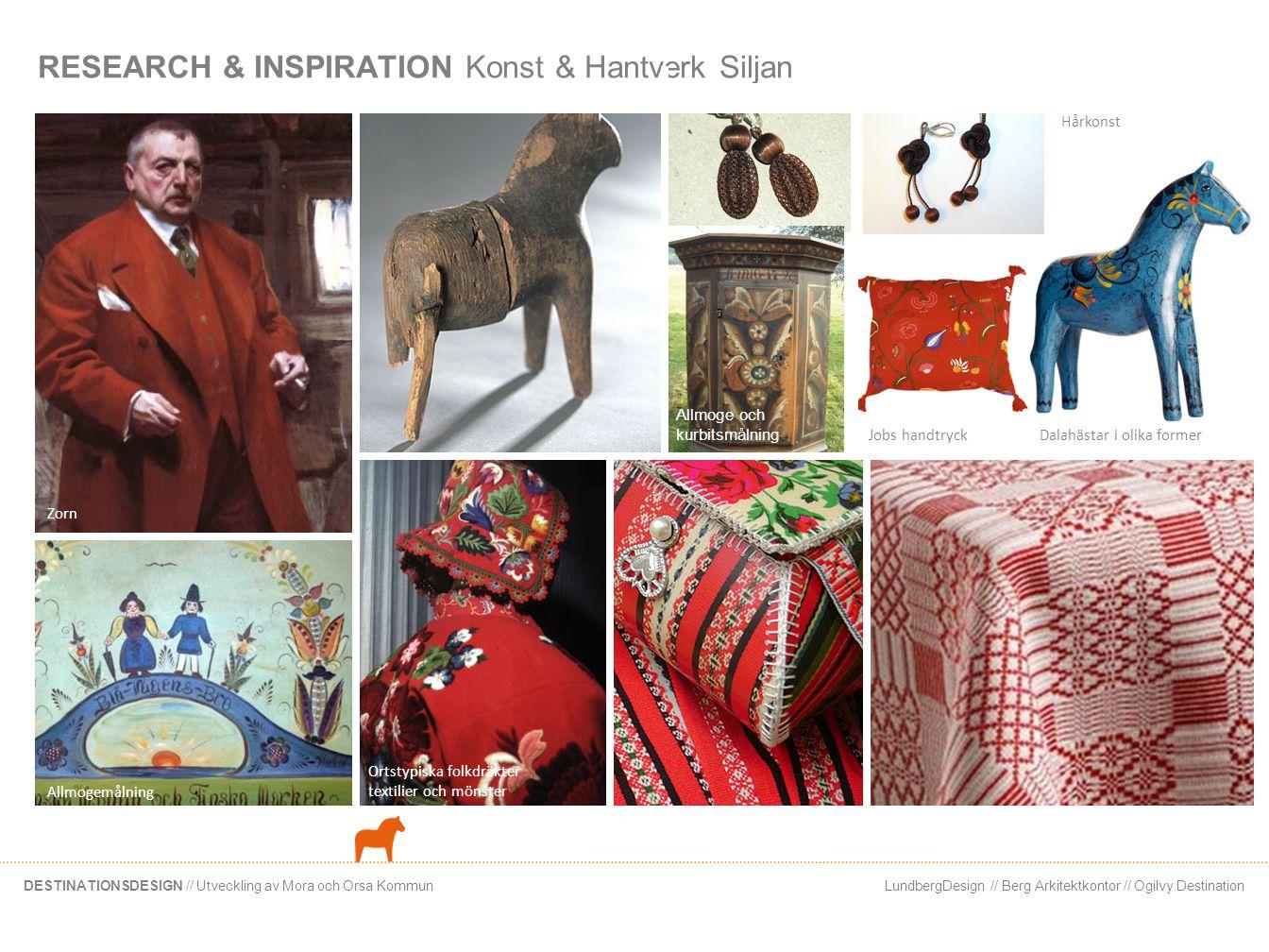 LundbergDesign // Berg Arkitektkontor // Ogilvy DestinationDESTINATIONSDESIGN // Utveckling av Mora och Orsa Kommun RESEARCH & INSPIRATION Konst & Han