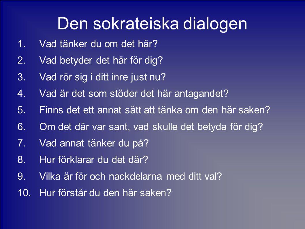Den sokrateiska dialogen 1.Vad tänker du om det här.
