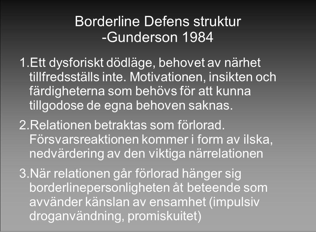 Borderline Defens struktur -Gunderson 1984 1.Ett dysforiskt dödläge, behovet av närhet tillfredsställs inte. Motivationen, insikten och färdigheterna