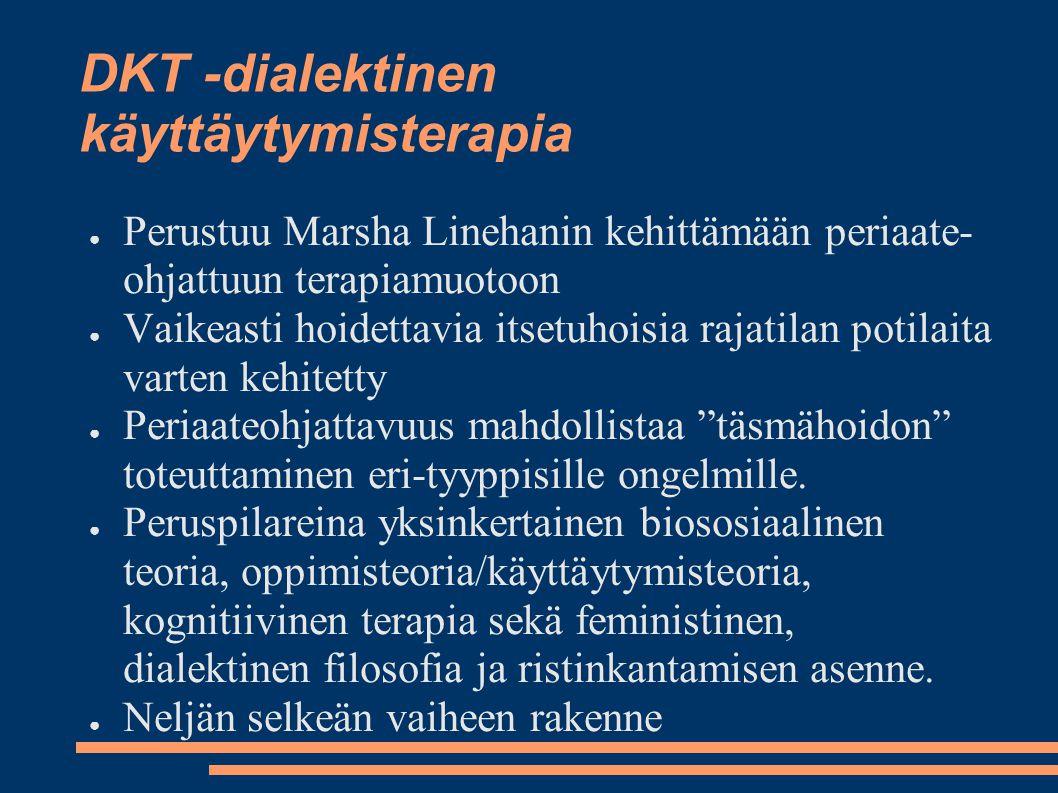 DKT -dialektinen käyttäytymisterapia ● Perustuu Marsha Linehanin kehittämään periaate- ohjattuun terapiamuotoon ● Vaikeasti hoidettavia itsetuhoisia rajatilan potilaita varten kehitetty ● Periaateohjattavuus mahdollistaa täsmähoidon toteuttaminen eri-tyyppisille ongelmille.
