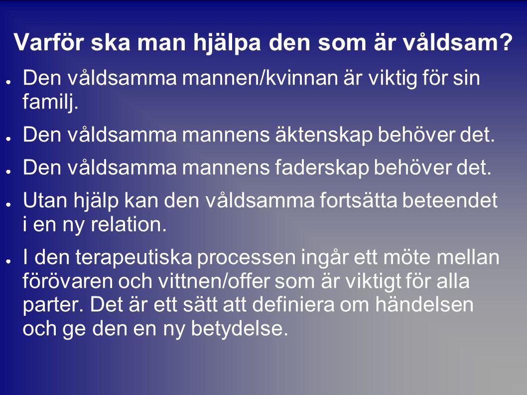 Varför ska man hjälpa den som är våldsam? ● Den våldsamma mannen/kvinnan är viktig för sin familj. ● Den våldsamma mannens äktenskap behöver det. ● De