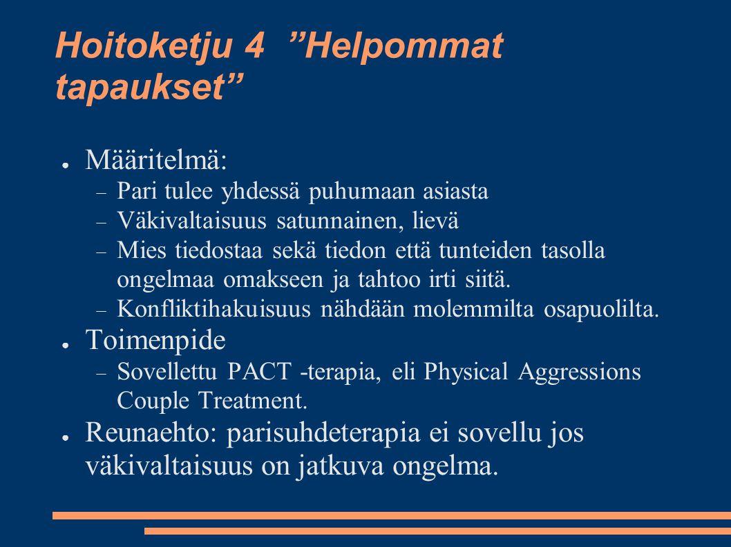 """Hoitoketju 4 """"Helpommat tapaukset"""" ● Määritelmä:  Pari tulee yhdessä puhumaan asiasta  Väkivaltaisuus satunnainen, lievä  Mies tiedostaa sekä tiedo"""