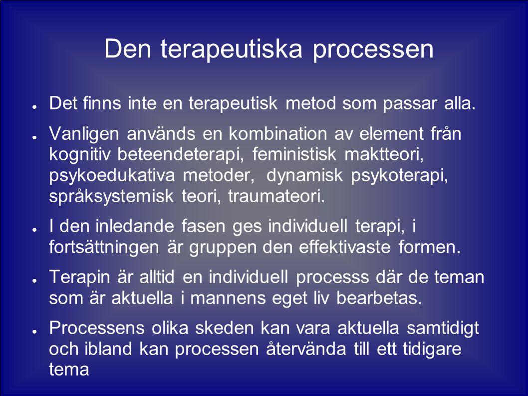 Den terapeutiska processen ● Det finns inte en terapeutisk metod som passar alla. ● Vanligen används en kombination av element från kognitiv beteendet