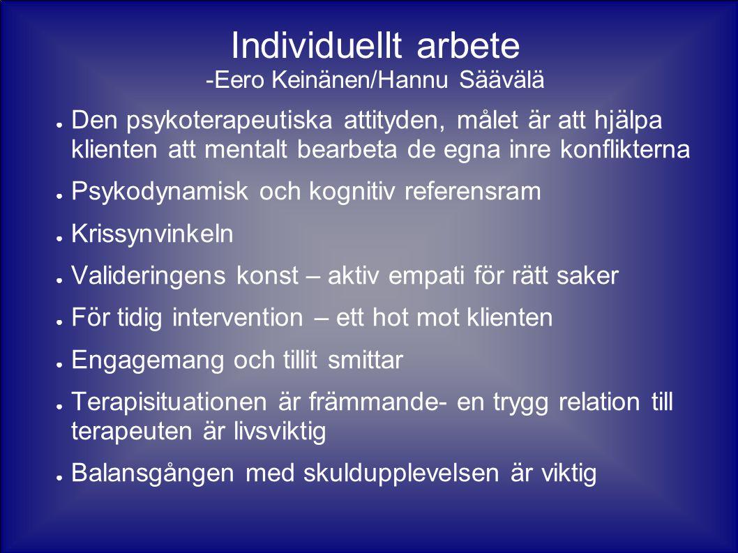 Individuellt arbete -Eero Keinänen/Hannu Säävälä ● Den psykoterapeutiska attityden, målet är att hjälpa klienten att mentalt bearbeta de egna inre kon