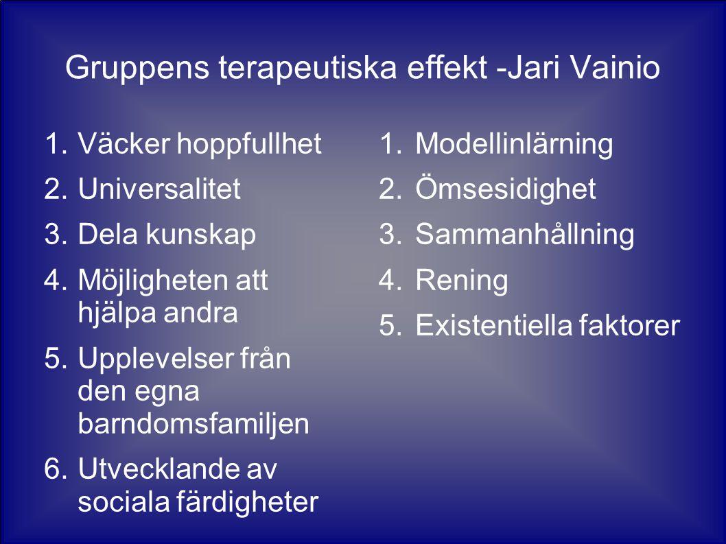 Gruppens terapeutiska effekt -Jari Vainio 1.Väcker hoppfullhet 2.Universalitet 3.Dela kunskap 4.Möjligheten att hjälpa andra 5.Upplevelser från den egna barndomsfamiljen 6.Utvecklande av sociala färdigheter 1.Modellinlärning 2.Ömsesidighet 3.Sammanhållning 4.Rening 5.Existentiella faktorer