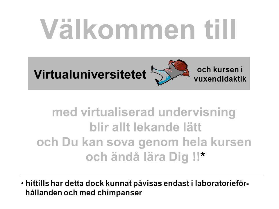 Virtualuniversitetet och kursen i vuxendidaktik Välkommen till med virtualiserad undervisning blir allt lekande lätt och Du kan sova genom hela kursen