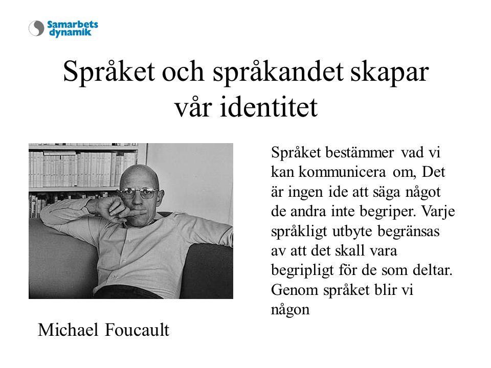 Språket och språkandet skapar vår identitet Michael Foucault Språket bestämmer vad vi kan kommunicera om, Det är ingen ide att säga något de andra inte begriper.