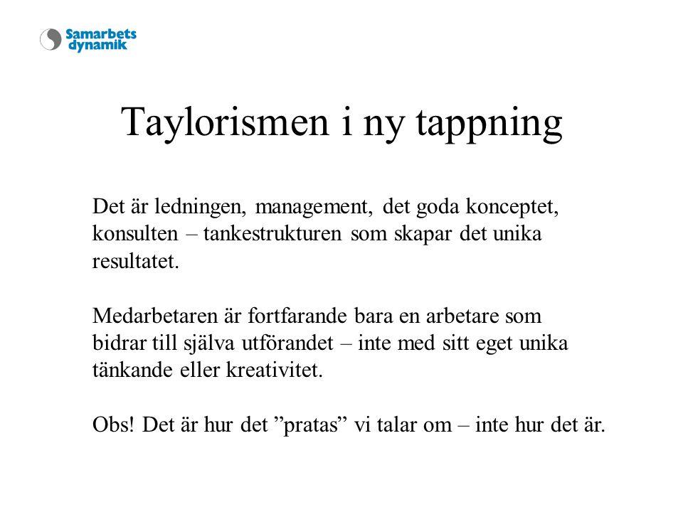 Taylorismen i ny tappning Det är ledningen, management, det goda konceptet, konsulten – tankestrukturen som skapar det unika resultatet.