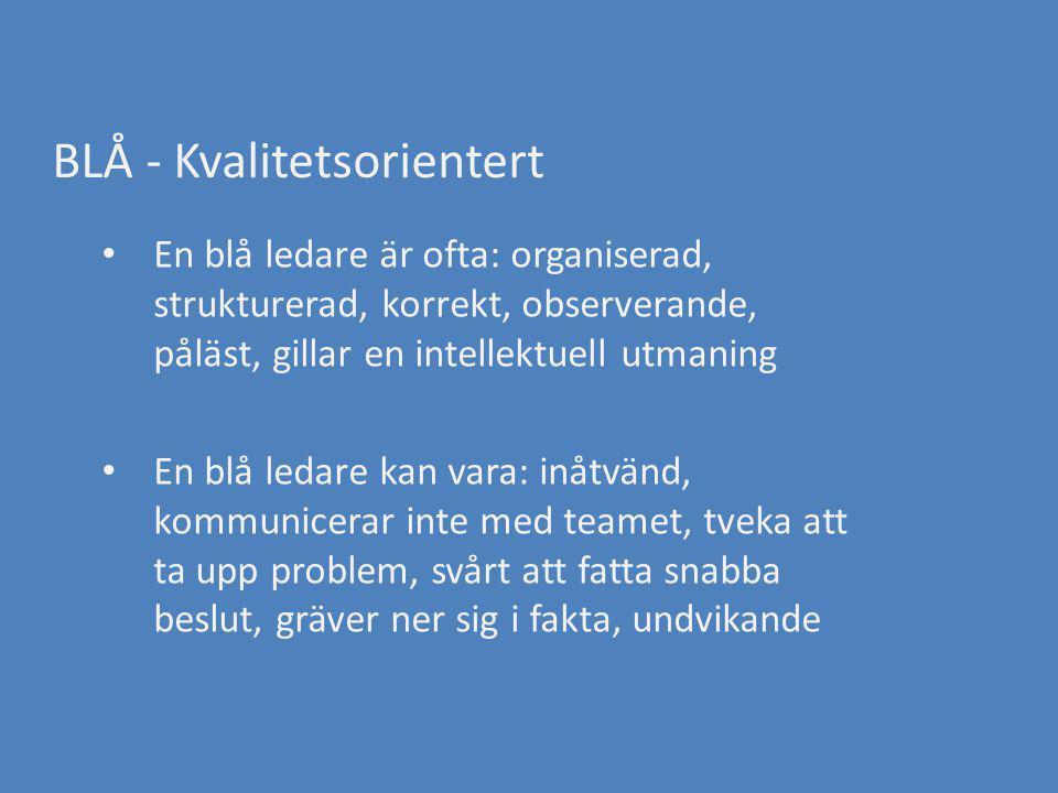 BLÅ - Kvalitetsorientert En blå ledare är ofta: organiserad, strukturerad, korrekt, observerande, påläst, gillar en intellektuell utmaning En blå leda