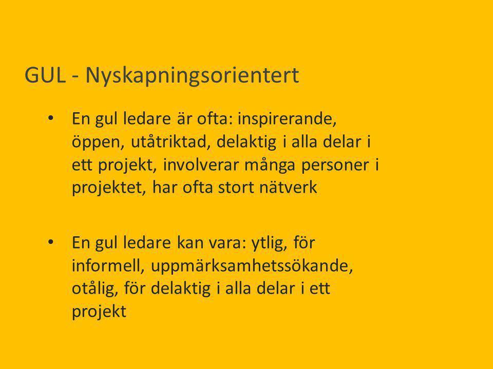 GUL - Nyskapningsorientert En gul ledare är ofta: inspirerande, öppen, utåtriktad, delaktig i alla delar i ett projekt, involverar många personer i pr