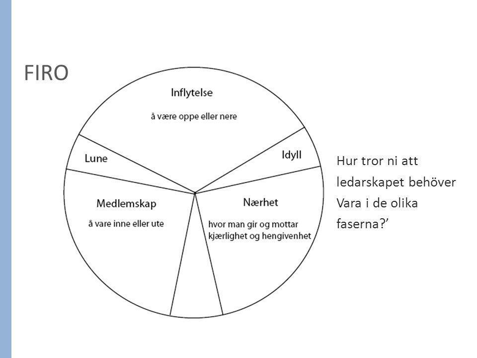 FIRO Hur tror ni att ledarskapet behöver Vara i de olika faserna?'