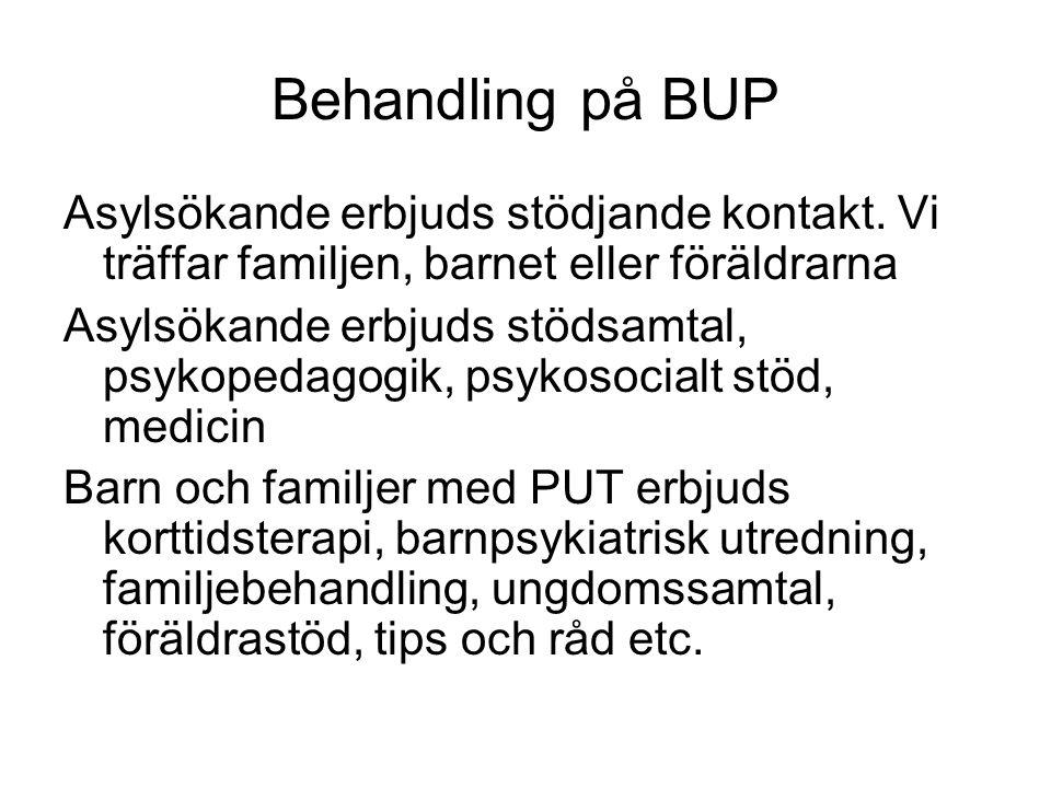 Behandling på BUP Asylsökande erbjuds stödjande kontakt.