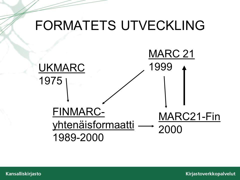 FORMATETS UTVECKLING MARC21-Fin 2000 MARC 21 1999 UKMARC 1975 FINMARC- yhtenäisformaatti 1989-2000