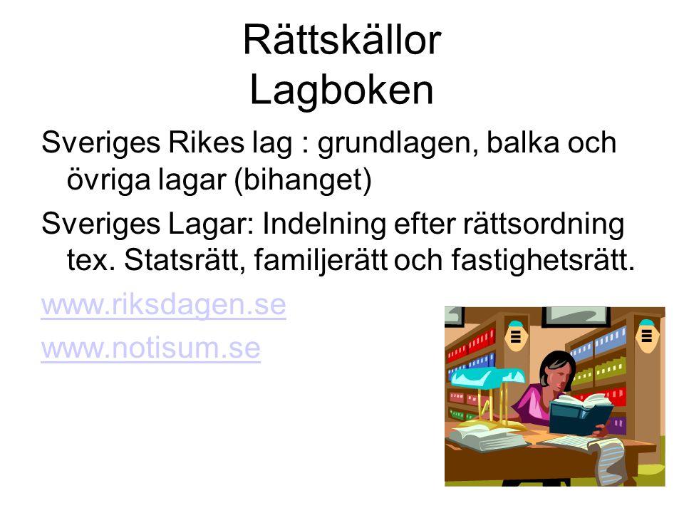 Rättskällor Lagboken Sveriges Rikes lag : grundlagen, balka och övriga lagar (bihanget) Sveriges Lagar: Indelning efter rättsordning tex.