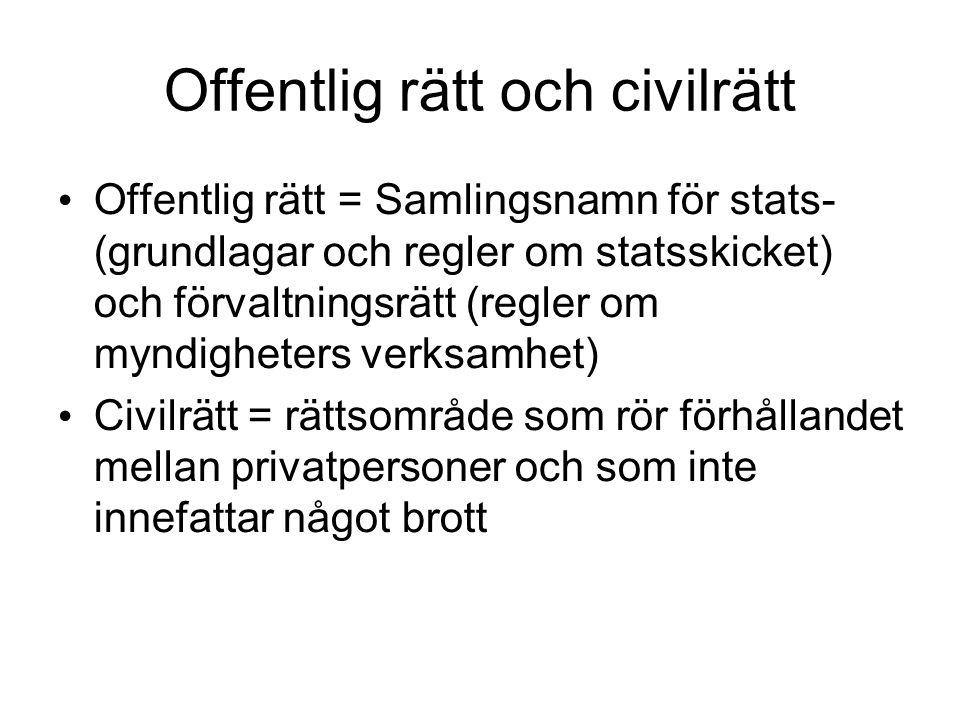 Offentlig rätt och civilrätt Offentlig rätt = Samlingsnamn för stats- (grundlagar och regler om statsskicket) och förvaltningsrätt (regler om myndighe